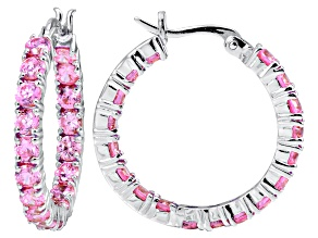 Bella Luce ® 6.48ctw Pink Diamond Simulant Rhodium Over Silver Hoop Earrings