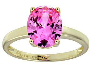 Bella Luce®4.31ct Pink Diamond Simulant 18k Yellow Gold Over Silver Ring