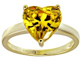 Bella Luce®5.380ct Yellow Diamond Simulant 18k Gold Over Silver Solitaire Ring