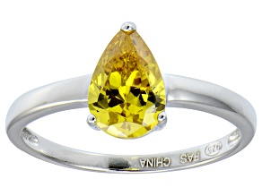Bella Luce®2.26ct Yellow Diamond Simulant Rhodium Over Silver Solitaire Ring