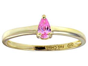 Bella Luce®.60ct Pink Diamond Simulant 18k Yellow Gold Over Silver Ring