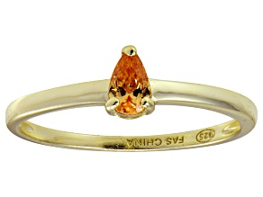 Bella Luce®.60ct Champagne Diamond Simulant 18k Gold Over Silver Solitaire Ring