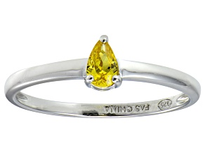 Bella Luce®.60ct Yellow Diamond Simulant Rhodium Over Silver Solitaire Ring