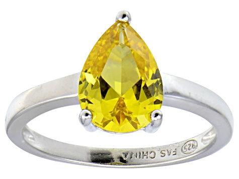 Bella Luce®3.06ct Yellow Diamond Simulant Rhodium Over Silver Solitaire Ring