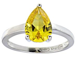Bella Luce®3.06ct Yellow Diamond Simulant Rhodium Over Silver Solitaire Ring