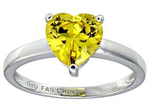 Bella Luce®2.90ct Yellow Diamond Simulant Rhodium Over Silver Solitaire Ring