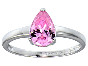 Bella Luce ® 2.26ct Pink Diamond Simulant Rhodium Over Silver Solitaire Ring