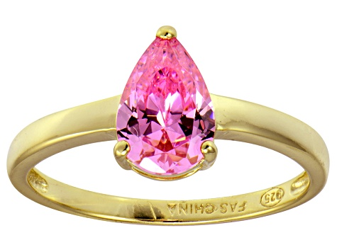 Bella Luce®2.26ct Pink Diamond Simulant 18k Gold Over Silver Solitaire Ring