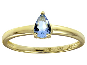 Bella Luce®.67ct Pear Shape Apatite Simulant 18k Yellow Gold Over Silver Ring