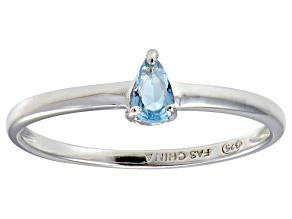 Bella Luce®.60ct Pear Shape Apatite Simulant Rhodium Over Silver Solitaire Ring