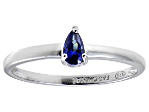 Bella Luce®.60ct Pear Shape Tanzanite Simulant Sterling Silver Solitaire Ring