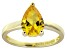 Bella Luce®3.06ct Yellow Diamond Simulant 18k Gold Over Silver Solitaire Ring