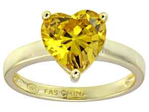 Bella Luce®4.10ct Yellow Diamond Simulant 18k Gold Over Silver Solitaire Ring