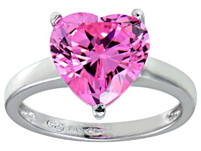 Bella Luce®5.38ct Pink Diamond Simulant Rhodium Over Silver Solitaire Ring