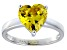 Bella Luce®4.10ct Yellow Diamond Simulant Rhodium Over Silver Solitaire Ring