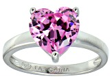 Bella Luce®4.10ct Pink Diamond Simulant Rhodium Over Silver Solitaire Ring