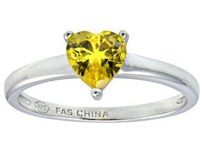 Bella Luce®1.25ct Yellow Diamond Simulant Rhodium Over Silver Solitaire Ring