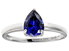 Bella Luce ®1.38ct Tanzanite Simulant Rhodium Over Sterling Silver Solitaire Ring