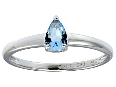 Bella Luce®.67ct Pear Shape Apatite Simulant Rhodium Over Silver Solitaire Ring
