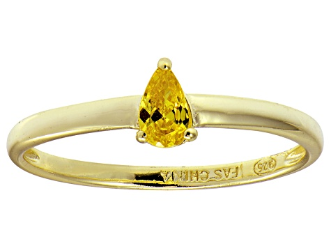 Bella Luce®.60ct Yellow Diamond Simulant 18k Gold Over Silver Solitaire Ring