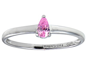 Bella Luce®.60ct Pink Diamond Simulant Rhodium Over Silver Solitaire Ring