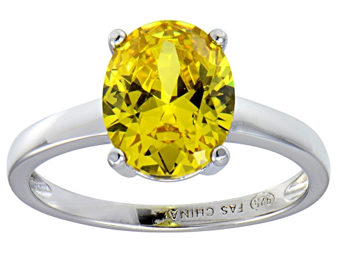 Bella Luce®4.31ct Yellow Diamond Simulant Rhodium Over Silver Solitaire Ring