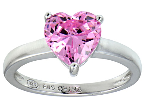 Bella Luce®2.90ct Pink Diamond Simulant Rhodium Over Silver Solitaire Ring