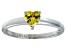 Bella Luce®.75ct Yellow Diamond Simulant Rhodium Over Silver Solitaire Ring