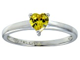 Bella Luce®.75ct Yellow Diamond Simulant Rhodium Over Silver Solitaire Ring