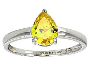 Bella Luce ® 1.38ct Yellow Diamond Simulant Rhodium Over Silver Solitaire Ring