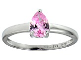 Bella Luce®1.21ct Pink Diamond Simulant Rhodium Over Silver Solitaire Ring