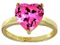Bella Luce®5.38ct Pink Diamond Simulant 18k Yellow Gold Over Silver Ring