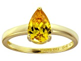 Bella Luce ® 2.26ctw Yellow Diamond Simulant 18k Gold Over Silver Solitaire Ring