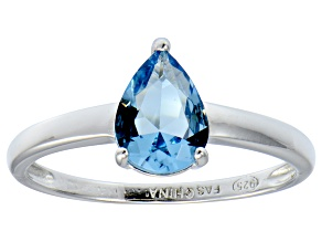 Blue Cubic Zirconia Rhodium Over Sterling Silver Solitaire Ring 1.38ct