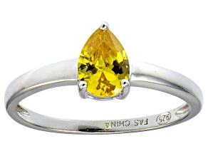 Bella Luce®1.21ct Yellow Diamond Simulant Rhodium Over Silver Solitaire Ring