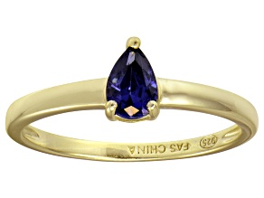Bella Luce®.67ct Tanzanite Simulant 18k Gold Over Silver Solitaire Ring