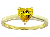 Bella Luce®1.25ct Yellow Diamond Simulant 18k Gold Over Silver Solitaire Ring