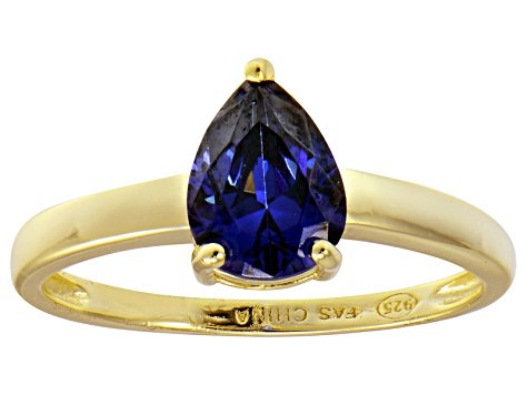 Bella Luce®1.38ct Tanzanite Simulant 18k Yellow Gold Over Silver Solitaire Ring