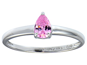 Bella Luce®.67ct Pink Diamond Simulant Rhodium Over Silver Solitaire Ring