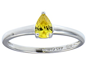 Bella Luce®.67ct Yellow Diamond Simulant Rhodium Over Silver Solitaire Ring