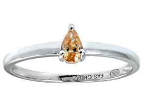Bella Luce®.60ct Champagne Diamond Simulant Sterling Silver Solitaire Ring