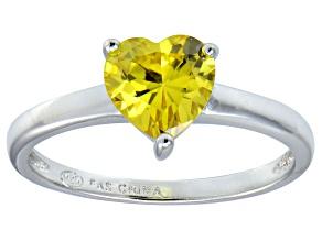 Bella Luce®1.92ct Yellow Diamond Simulant Rhodium Over Silver Solitaire Ring