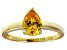 Bella Luce®1.38ct Yellow Diamond Simulant 18k Gold Over Silver Solitaire Ring