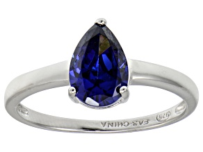 Bella Luce®2.26ct Tanzanite Simulant Rhodium Over Silver Solitaire Ring