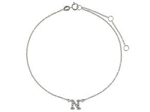 Bella Luce™ .29ct Rhodium Over Sterling Silver initial