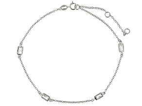 Bella Luce™ 2.0ct Diamond Simulant Rhodium Over Sterling Silver Station Anklet