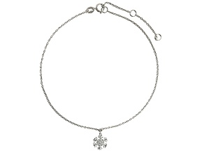 Bella Luce™ .46ct Rhodium Over Sterling Silver Snowflake Anklet
