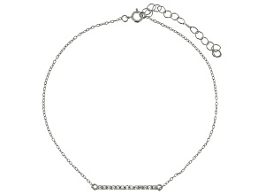 Bella Luce™ .19ct Diamond Simulant Rhodium Over Sterling Silver Bar Anklet