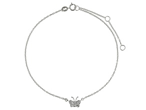 Bella Luce™ .38ct Rhodium Over Sterling Silver Butterfly Anklet