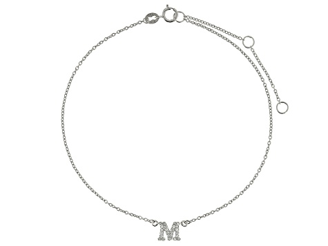 Bella Luce™ .43ct Rhodium Over Sterling Silver initial